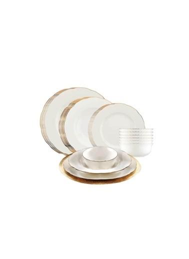 Kütahya Porselen Kütahya Porselen Bone Olympos Fileli 24 Parça Yemek Takımı Bakır Renkli